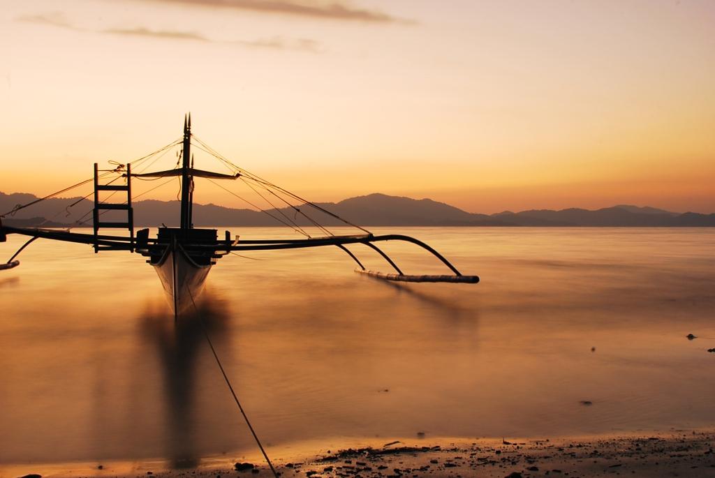 Port Barton, San Vicente, Palawan, Outrigger, Boat, Bangka, Sunset